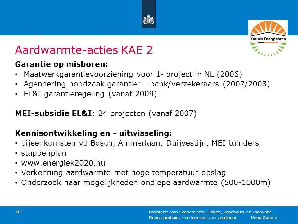 Duurzaamheid, een kwestie van verdienen Kees Oomen Ministerie van Economische Zaken, Landbouw en Innovatie 10 Aardwarmte-acties KAE 2 Garantie op misboren: Maatwerkgarantievoorziening voor 1 e project in NL (2006) Agendering noodzaak garantie: - bank/verzekeraars (2007/2008) EL&I-garantieregeling (vanaf 2009) MEI-subsidie EL&I: 24 projecten (vanaf 2007) Kennisontwikkeling en - uitwisseling: bijeenkomsten vd Bosch, Ammerlaan, Duijvestijn, MEI-tuinders stappenplan www.energiek2020.nu Verkenning aardwarmte met hoge temperatuur opslag Onderzoek naar mogelijkheden ondiepe aardwarmte (500-1000m)