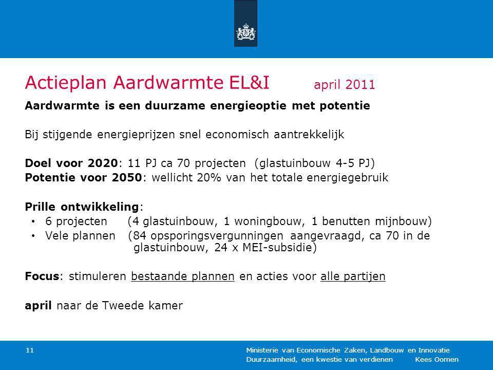 Duurzaamheid, een kwestie van verdienen Kees Oomen Ministerie van Economische Zaken, Landbouw en Innovatie 11 Actieplan Aardwarmte EL&I april 2011 Aardwarmte is een duurzame energieoptie met potentie Bij stijgende energieprijzen snel economisch aantrekkelijk Doel voor 2020: 11 PJ ca 70 projecten (glastuinbouw 4-5 PJ) Potentie voor 2050: wellicht 20% van het totale energiegebruik Prille ontwikkeling: 6 projecten (4 glastuinbouw, 1 woningbouw, 1 benutten mijnbouw) Vele plannen (84 opsporingsvergunningen aangevraagd, ca 70 in de glastuinbouw, 24 x MEI-subsidie) Focus: stimuleren bestaande plannen en acties voor alle partijen april naar de Tweede kamer