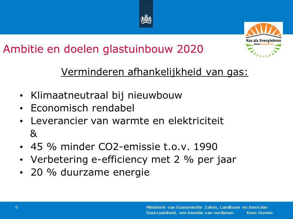 Duurzaamheid, een kwestie van verdienen Kees Oomen Ministerie van Economische Zaken, Landbouw en Innovatie 5 Ambitie en doelen glastuinbouw 2020 Verminderen afhankelijkheid van gas: Klimaatneutraal bij nieuwbouw Economisch rendabel Leverancier van warmte en elektriciteit & 45 % minder CO2-emissie t.o.v.