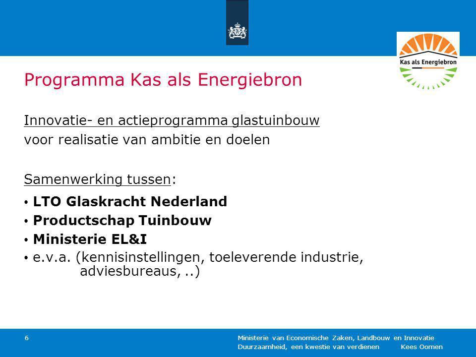 Duurzaamheid, een kwestie van verdienen Kees Oomen Ministerie van Economische Zaken, Landbouw en Innovatie 6 Programma Kas als Energiebron Innovatie-