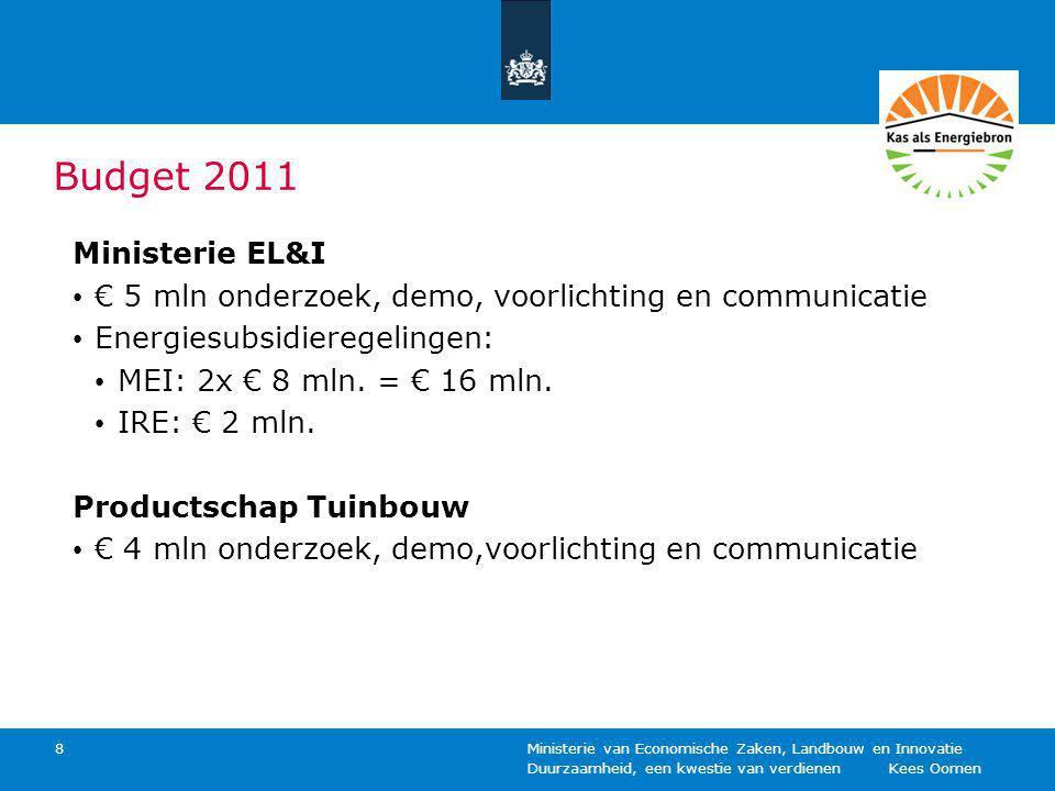 Duurzaamheid, een kwestie van verdienen Kees Oomen Ministerie van Economische Zaken, Landbouw en Innovatie 8 Budget 2011 Ministerie EL&I € 5 mln onder