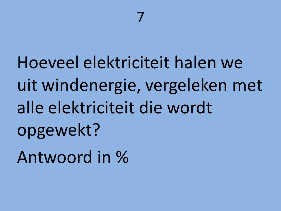 7 Hoeveel elektriciteit halen we uit windenergie, vergeleken met alle elektriciteit die wordt opgewekt? Antwoord in %