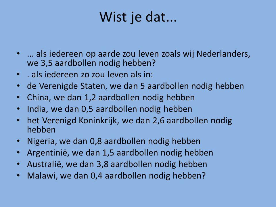 Wist je dat...... als iedereen op aarde zou leven zoals wij Nederlanders, we 3,5 aardbollen nodig hebben?. als iedereen zo zou leven als in: de Vereni