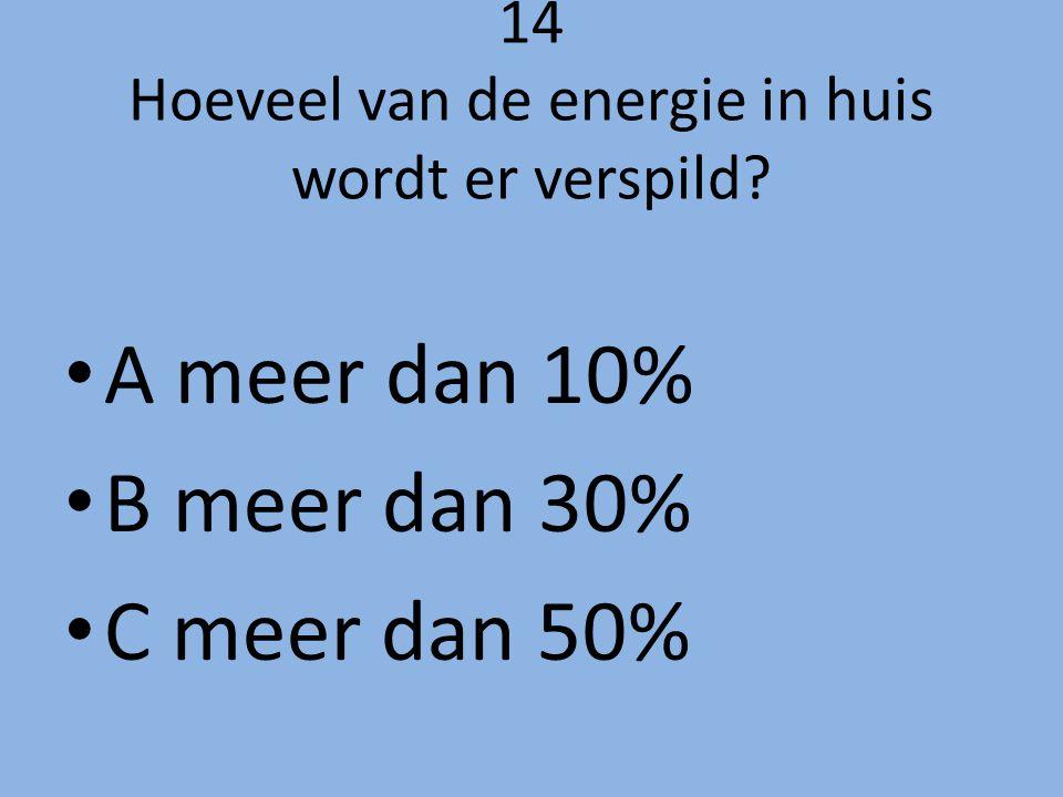 14 Hoeveel van de energie in huis wordt er verspild? A meer dan 10% B meer dan 30% C meer dan 50%