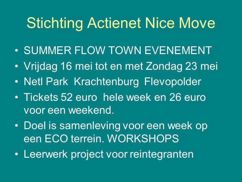 Stichting Actienet Nice Move SUMMER FLOW TOWN EVENEMENT Vrijdag 16 mei tot en met Zondag 23 mei Netl Park Krachtenburg Flevopolder Tickets 52 euro hele week en 26 euro voor een weekend.