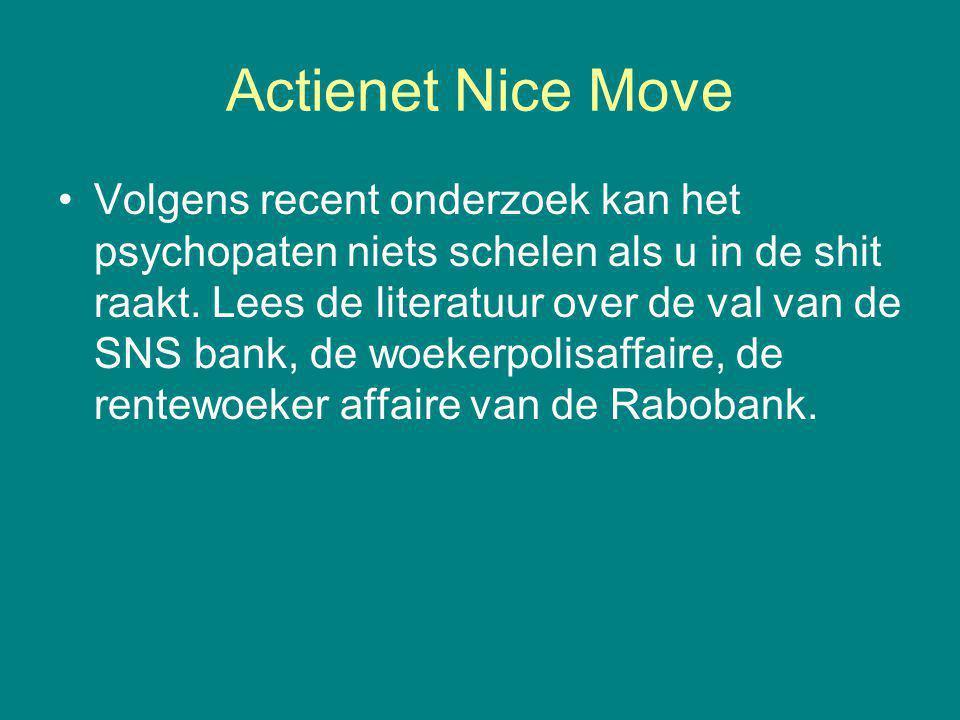 Actienet Nice Move Volgens recent onderzoek kan het psychopaten niets schelen als u in de shit raakt. Lees de literatuur over de val van de SNS bank,