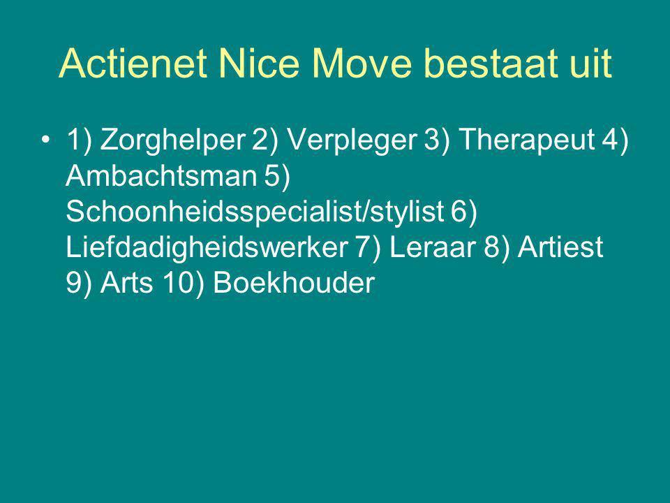 Actienet Nice Move bestaat uit 1) Zorghelper 2) Verpleger 3) Therapeut 4) Ambachtsman 5) Schoonheidsspecialist/stylist 6) Liefdadigheidswerker 7) Leraar 8) Artiest 9) Arts 10) Boekhouder