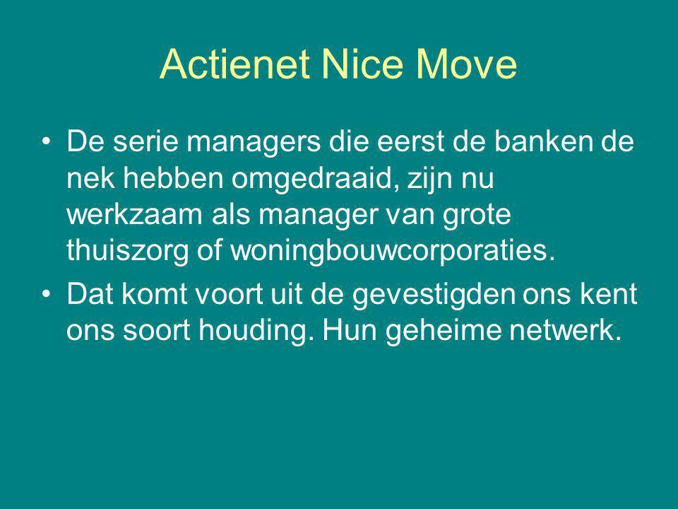 Actienet Nice Move De serie managers die eerst de banken de nek hebben omgedraaid, zijn nu werkzaam als manager van grote thuiszorg of woningbouwcorporaties.