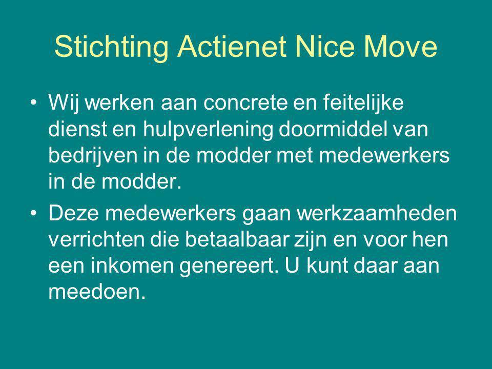 Stichting Actienet Nice Move Wij werken aan concrete en feitelijke dienst en hulpverlening doormiddel van bedrijven in de modder met medewerkers in de modder.