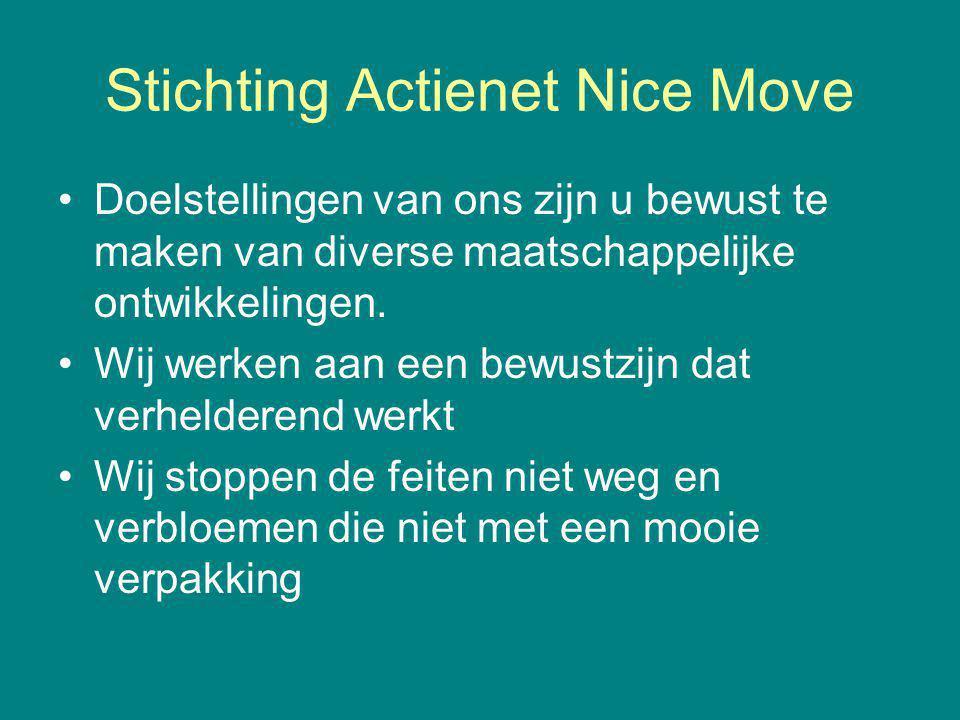 Stichting Actienet Nice Move Doelstellingen van ons zijn u bewust te maken van diverse maatschappelijke ontwikkelingen. Wij werken aan een bewustzijn