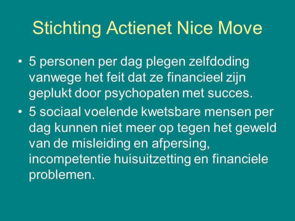 Stichting Actienet Nice Move 5 personen per dag plegen zelfdoding vanwege het feit dat ze financieel zijn geplukt door psychopaten met succes.