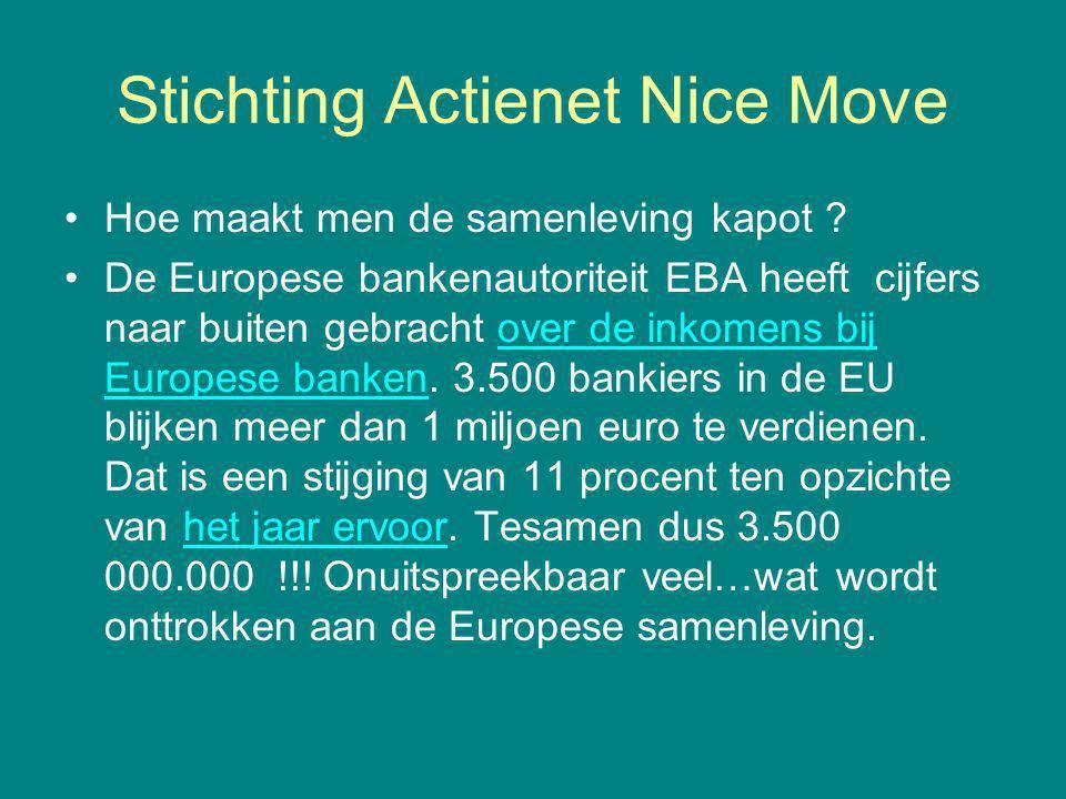 Stichting Actienet Nice Move Hoe maakt men de samenleving kapot ? De Europese bankenautoriteit EBA heeft cijfers naar buiten gebracht over de inkomens
