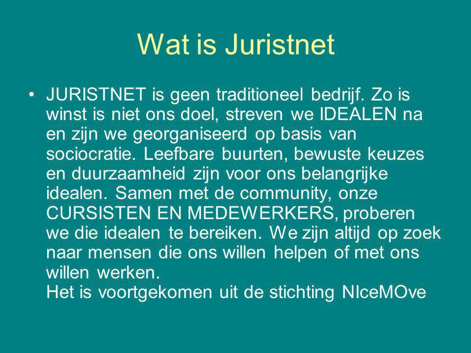 Wat is Juristnet JURISTNET is geen traditioneel bedrijf. Zo is winst is niet ons doel, streven we IDEALEN na en zijn we georganiseerd op basis van soc