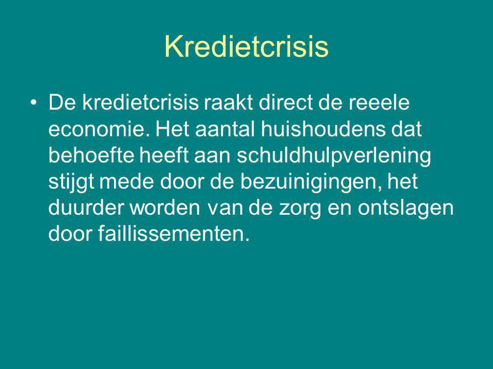 Kredietcrisis De kredietcrisis raakt direct de reeele economie.