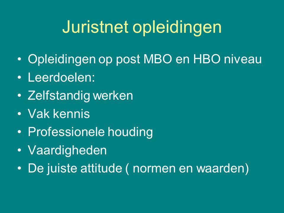 Juristnet opleidingen Opleidingen op post MBO en HBO niveau Leerdoelen: Zelfstandig werken Vak kennis Professionele houding Vaardigheden De juiste attitude ( normen en waarden)