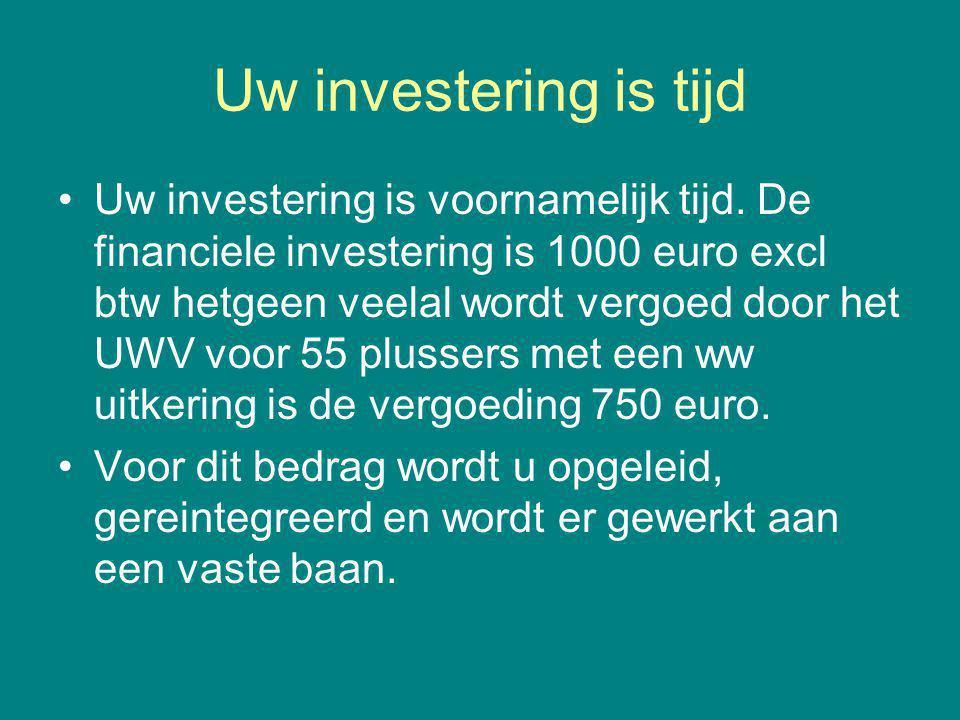 Uw investering is tijd Uw investering is voornamelijk tijd. De financiele investering is 1000 euro excl btw hetgeen veelal wordt vergoed door het UWV