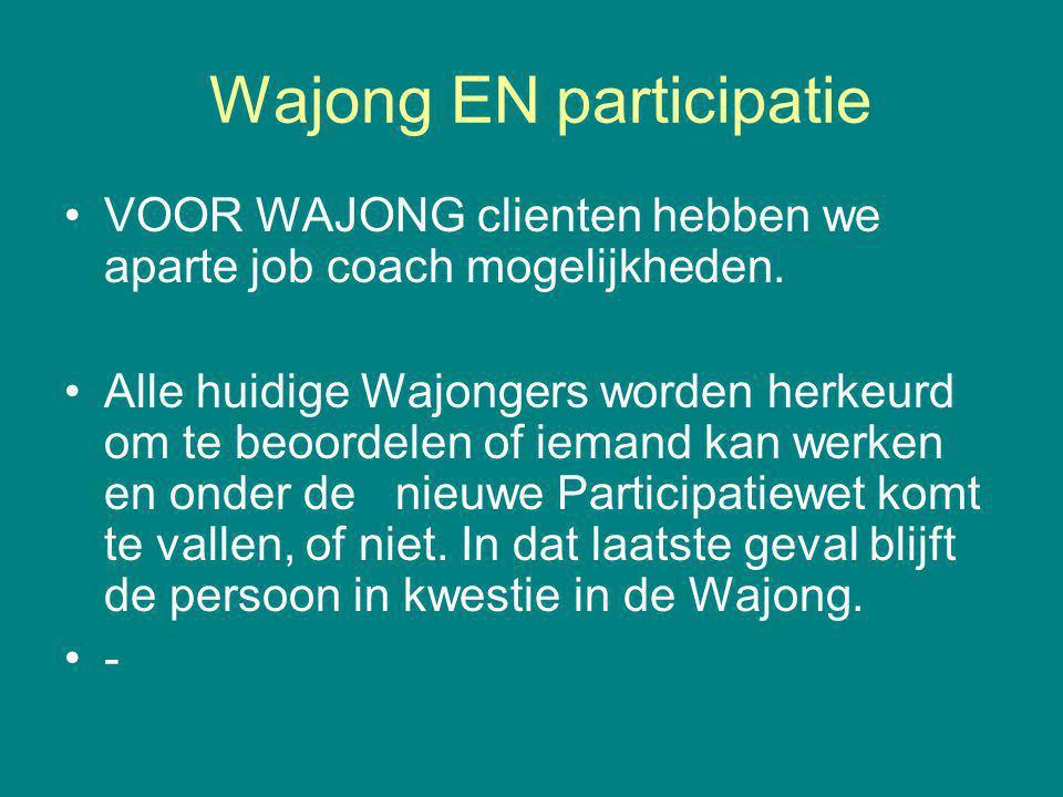 Wajong EN participatie VOOR WAJONG clienten hebben we aparte job coach mogelijkheden. Alle huidige Wajongers worden herkeurd om te beoordelen of ieman