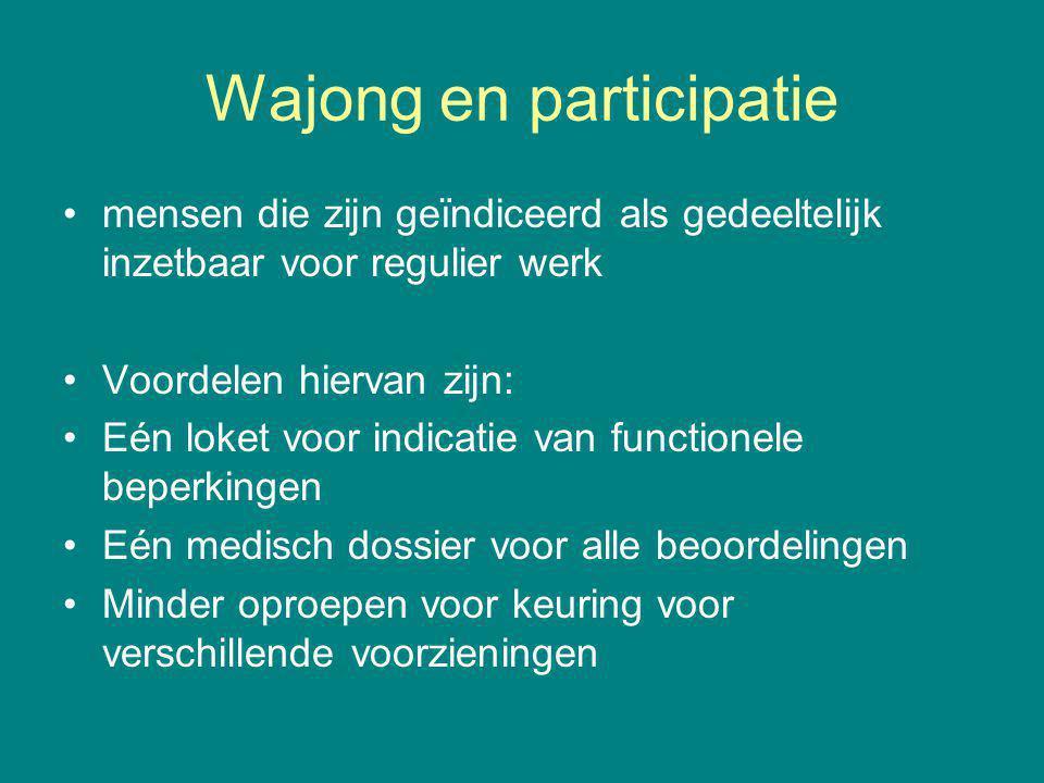 Wajong en participatie mensen die zijn geïndiceerd als gedeeltelijk inzetbaar voor regulier werk Voordelen hiervan zijn: Eén loket voor indicatie van