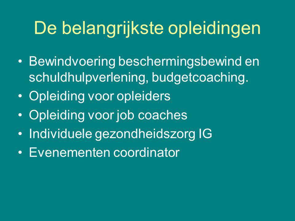 De belangrijkste opleidingen Bewindvoering beschermingsbewind en schuldhulpverlening, budgetcoaching. Opleiding voor opleiders Opleiding voor job coac