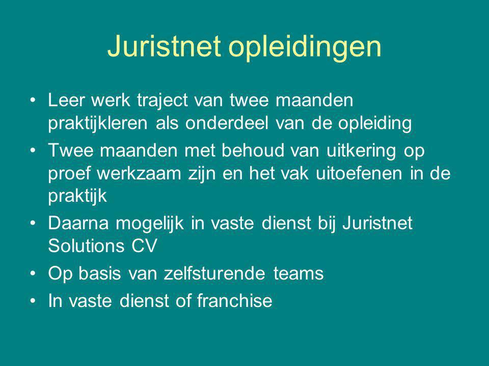 Juristnet opleidingen Leer werk traject van twee maanden praktijkleren als onderdeel van de opleiding Twee maanden met behoud van uitkering op proef w
