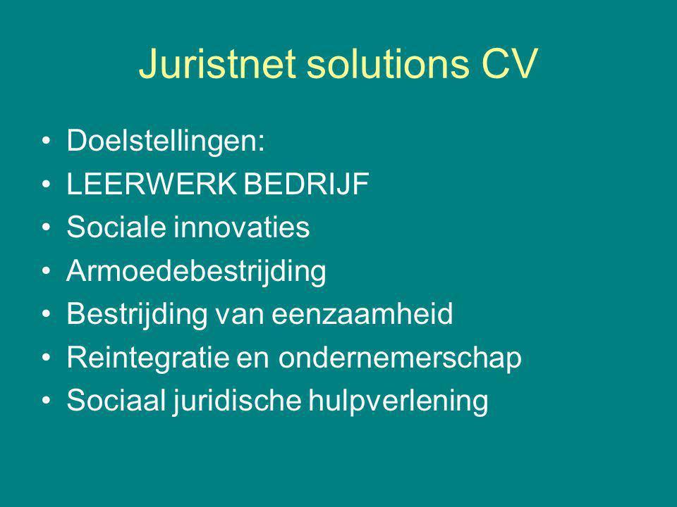 Juristnet solutions CV Doelstellingen: LEERWERK BEDRIJF Sociale innovaties Armoedebestrijding Bestrijding van eenzaamheid Reintegratie en ondernemerschap Sociaal juridische hulpverlening