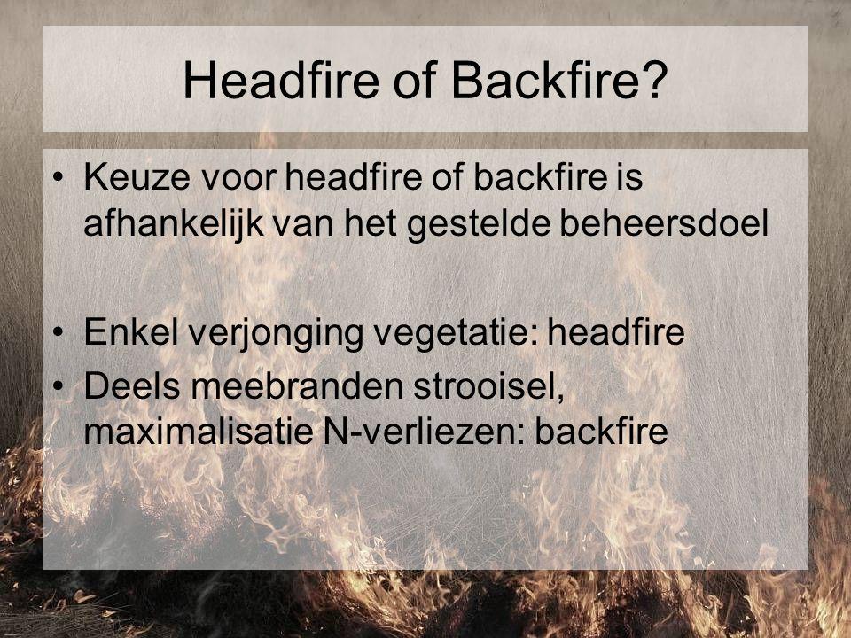 Headfire of Backfire? Keuze voor headfire of backfire is afhankelijk van het gestelde beheersdoel Enkel verjonging vegetatie: headfire Deels meebrande