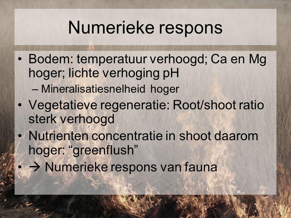 Numerieke respons Bodem: temperatuur verhoogd; Ca en Mg hoger; lichte verhoging pH –Mineralisatiesnelheid hoger Vegetatieve regeneratie: Root/shoot ra