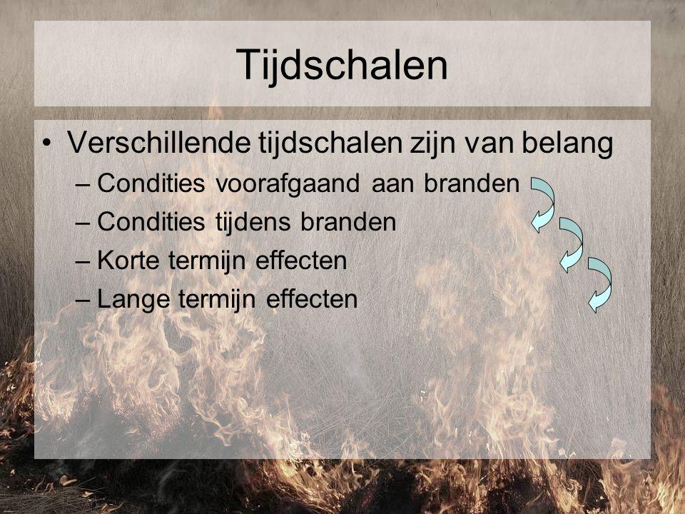 Tijdschalen Verschillende tijdschalen zijn van belang –Condities voorafgaand aan branden –Condities tijdens branden –Korte termijn effecten –Lange ter