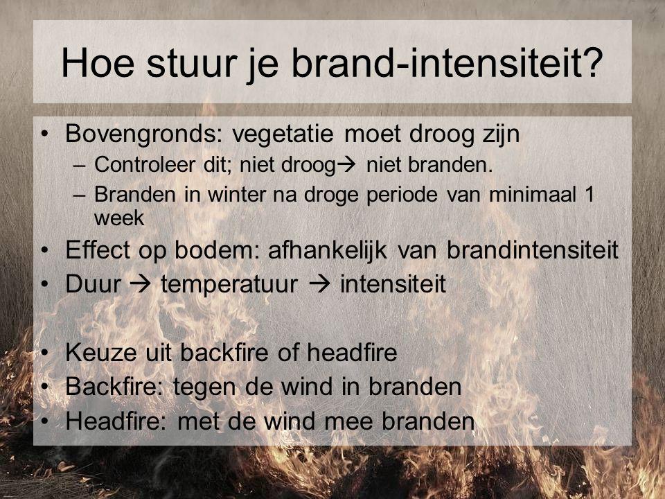 Hoe stuur je brand-intensiteit? Bovengronds: vegetatie moet droog zijn –Controleer dit; niet droog  niet branden. –Branden in winter na droge periode