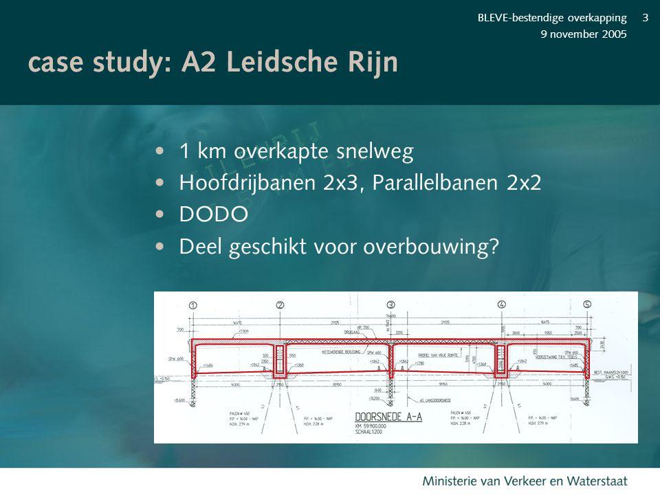 9 november 2005 BLEVE-bestendige overkapping3 case study: A2 Leidsche Rijn 1 km overkapte snelweg Hoofdrijbanen 2x3, Parallelbanen 2x2 DODO Deel gesch