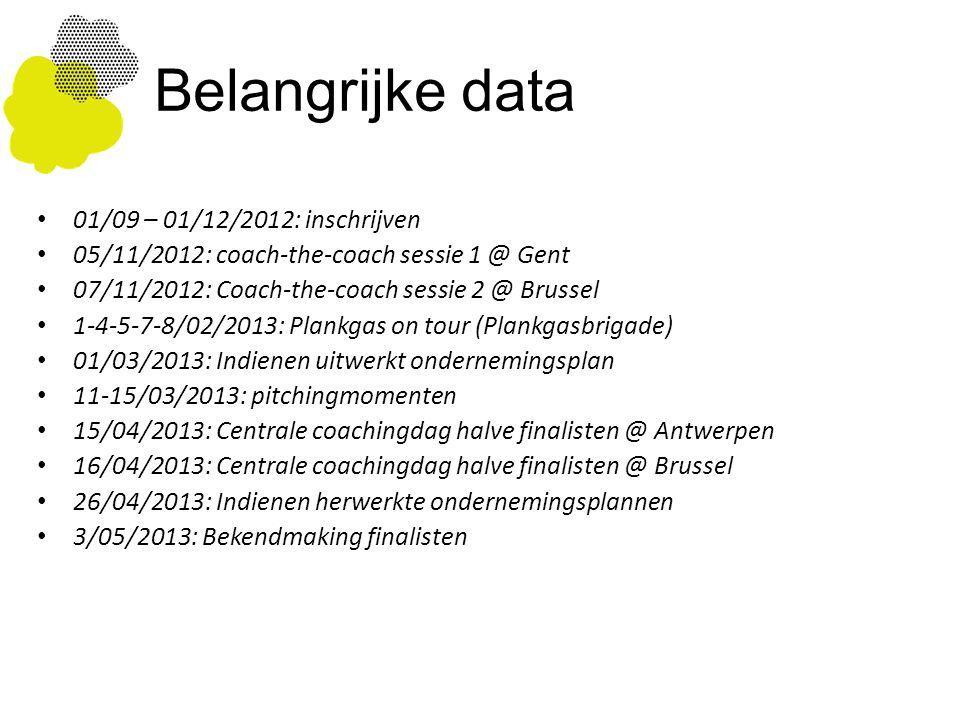 Belangrijke data 01/09 – 01/12/2012: inschrijven 05/11/2012: coach-the-coach sessie 1 @ Gent 07/11/2012: Coach-the-coach sessie 2 @ Brussel 1-4-5-7-8/02/2013: Plankgas on tour (Plankgasbrigade) 01/03/2013: Indienen uitwerkt ondernemingsplan 11-15/03/2013: pitchingmomenten 15/04/2013: Centrale coachingdag halve finalisten @ Antwerpen 16/04/2013: Centrale coachingdag halve finalisten @ Brussel 26/04/2013: Indienen herwerkte ondernemingsplannen 3/05/2013: Bekendmaking finalisten