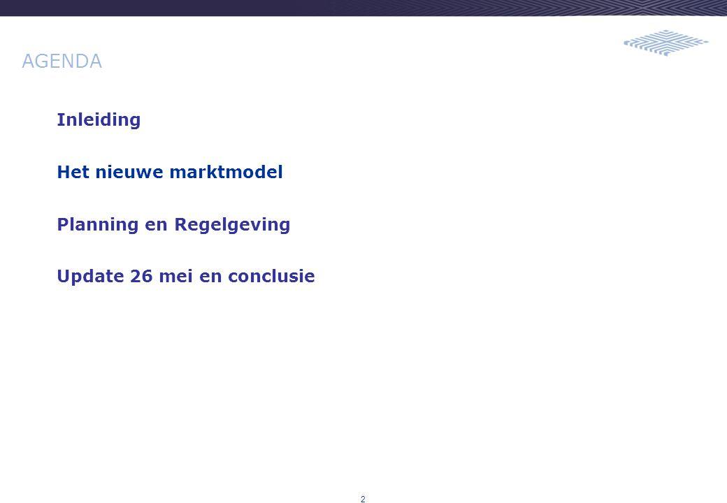 2 AGENDA Inleiding Het nieuwe marktmodel Planning en Regelgeving Update 26 mei en conclusie