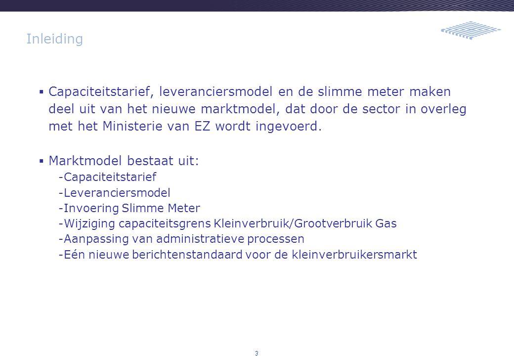 3 Inleiding  Capaciteitstarief, leveranciersmodel en de slimme meter maken deel uit van het nieuwe marktmodel, dat door de sector in overleg met het Ministerie van EZ wordt ingevoerd.