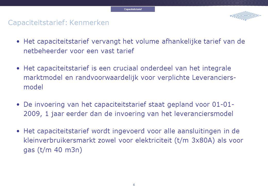5 Capaciteitstarief: Kenmerken Het capaciteitstarief omvat alle periodieke netbeheerderskosten (excl.