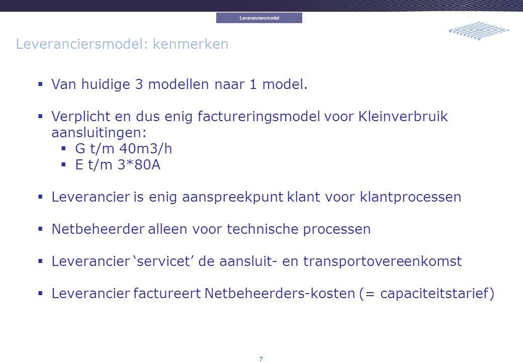 7 Leveranciersmodel: kenmerken  Van huidige 3 modellen naar 1 model.  Verplicht en dus enig factureringsmodel voor Kleinverbruik aansluitingen:  G