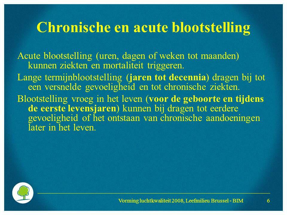 Vorming luchtkwaliteit 2008, Leefmilieu Brussel - BIM 6 Chronische en acute blootstelling Acute blootstelling (uren, dagen of weken tot maanden) kunne