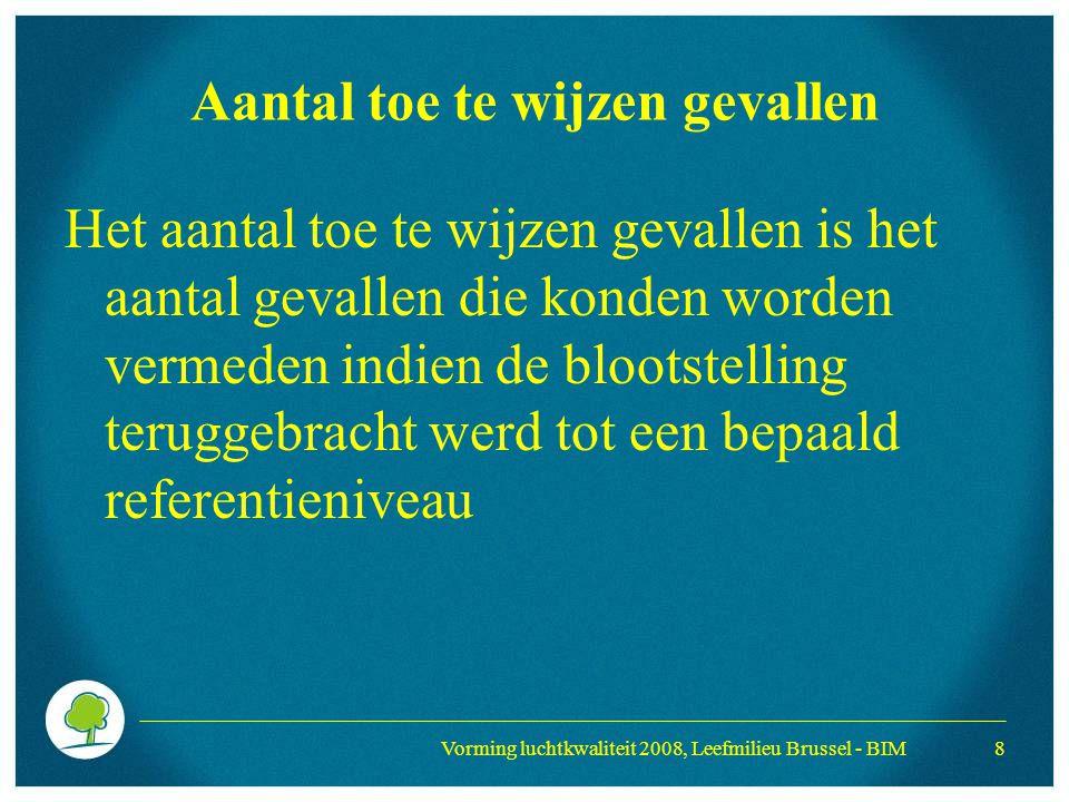Vorming luchtkwaliteit 2008, Leefmilieu Brussel - BIM 8 Aantal toe te wijzen gevallen Het aantal toe te wijzen gevallen is het aantal gevallen die kon