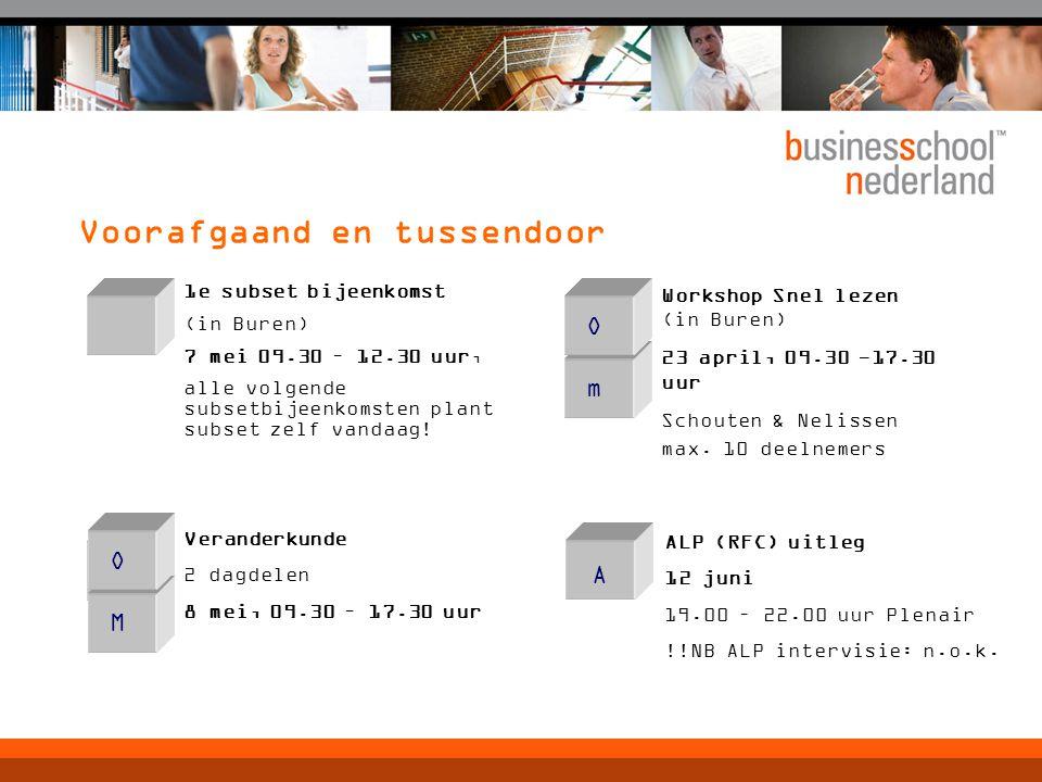 Voorafgaand en tussendoor m Workshop Snel lezen (in Buren) 23 april, 09.30 -17.30 uur Schouten & Nelissen max.