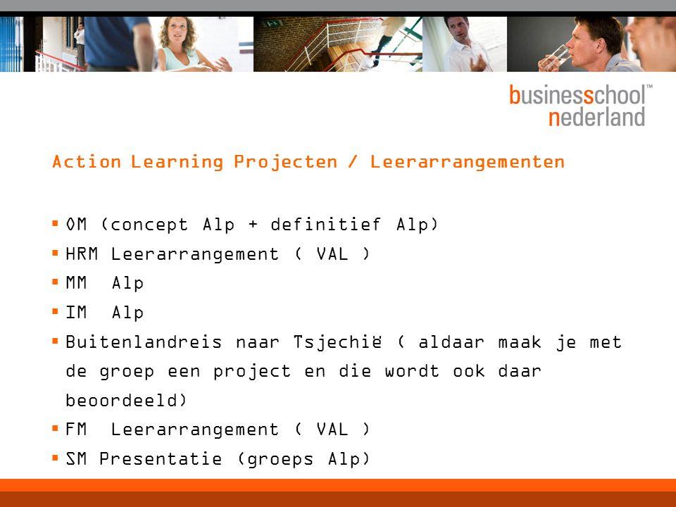 Action Learning Projecten / Leerarrangementen  OM (concept Alp + definitief Alp)  HRM Leerarrangement ( VAL )  MM Alp  IM Alp  Buitenlandreis naa