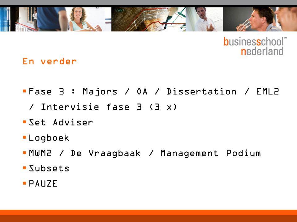 En verder  Fase 3 : Majors / OA / Dissertation / EML2 / Intervisie fase 3 (3 x)  Set Adviser  Logboek  MWM2 / De Vraagbaak / Management Podium  Subsets  PAUZE