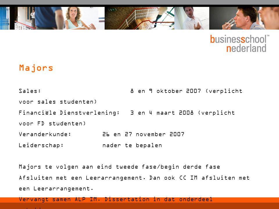 Sales: 8 en 9 oktober 2007 (verplicht voor sales studenten) Financiële Dienstverlening:3 en 4 maart 2008 (verplicht voor FD studenten) Veranderkunde:2