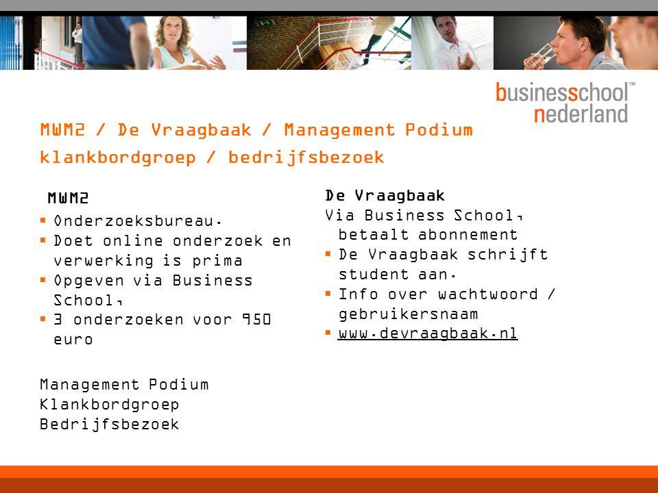 MWM2 / De Vraagbaak / Management Podium klankbordgroep / bedrijfsbezoek MWM2  Onderzoeksbureau.  Doet online onderzoek en verwerking is prima  Opge