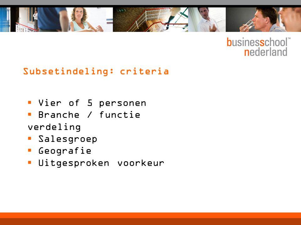 Subsetindeling: criteria  Vier of 5 personen  Branche / functie verdeling  Salesgroep  Geografie  Uitgesproken voorkeur