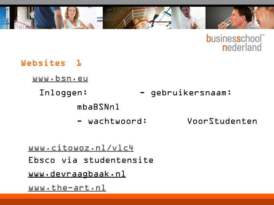 Websites 1 www.bsn.eu Inloggen: - gebruikersnaam: mbaBSNnl - wachtwoord:VoorStudenten www.citowoz.nl/vlc4 Ebsco via studentensite www.devraagbaak.nl w