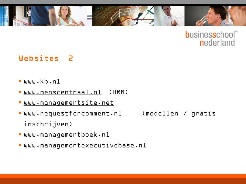 Websites 2  www.kb.nl  www.menscentraal.nl (HRM)  www.managementsite.net  www.requestforcomment.nl (modellen / gratis inschrijven)  www.managementboek.nl  www.managementexecutivebase.nl