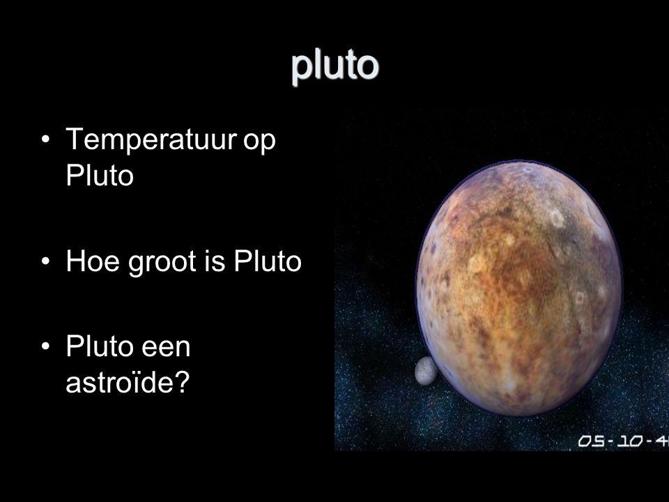 pluto Temperatuur op Pluto Hoe groot is Pluto Pluto een astroïde?