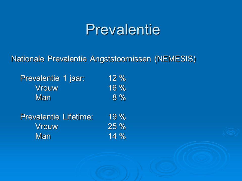 Prevalentie Nationale Prevalentie Angststoornissen (NEMESIS) Prevalentie 1 jaar: 12 % Vrouw 16 % Man 8 % Prevalentie Lifetime:19 % Vrouw25 % Man14 %