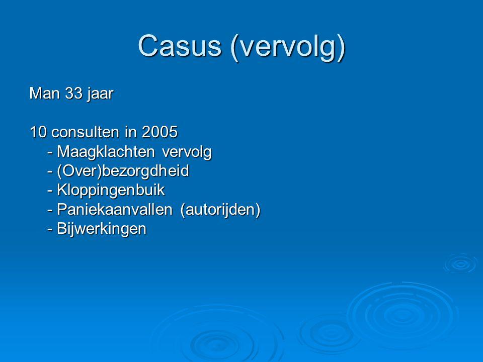 Casus (vervolg) Man 33 jaar 10 consulten in 2005 - Maagklachten vervolg - (Over)bezorgdheid - Kloppingenbuik - Paniekaanvallen (autorijden) - Bijwerkingen