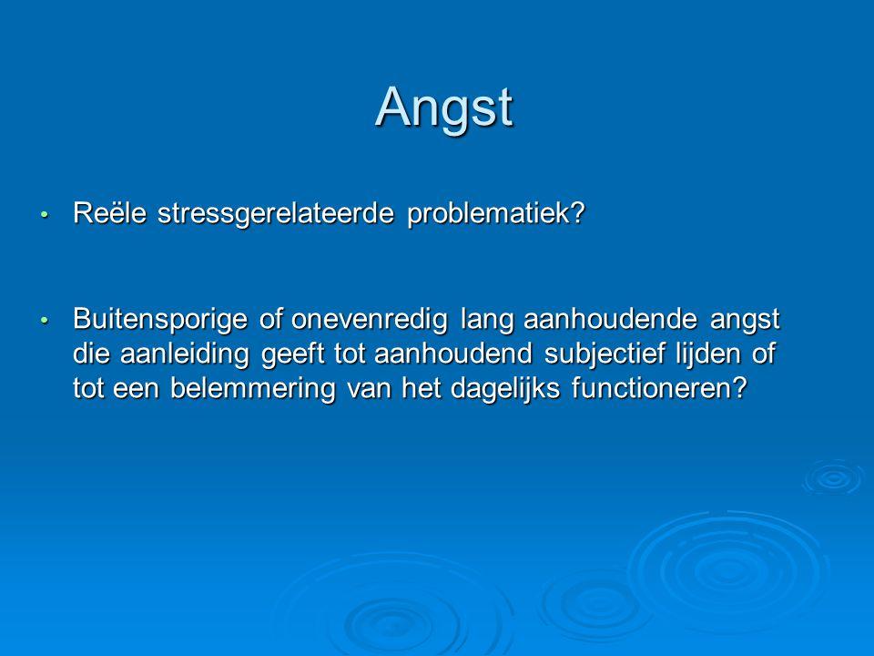 Angst Reële stressgerelateerde problematiek.Reële stressgerelateerde problematiek.