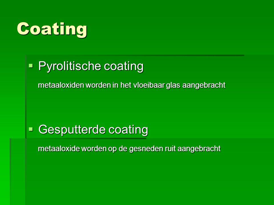 Coating  Pyrolitische coating metaaloxiden worden in het vloeibaar glas aangebracht metaaloxiden worden in het vloeibaar glas aangebracht  Gesputterde coating metaaloxide worden op de gesneden ruit aangebracht metaaloxide worden op de gesneden ruit aangebracht